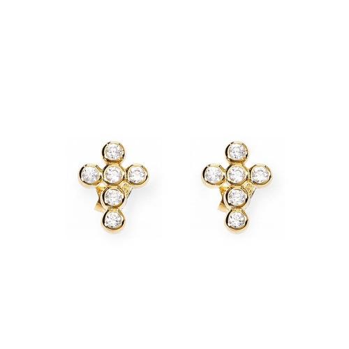 Earrings cross lobe with zircon