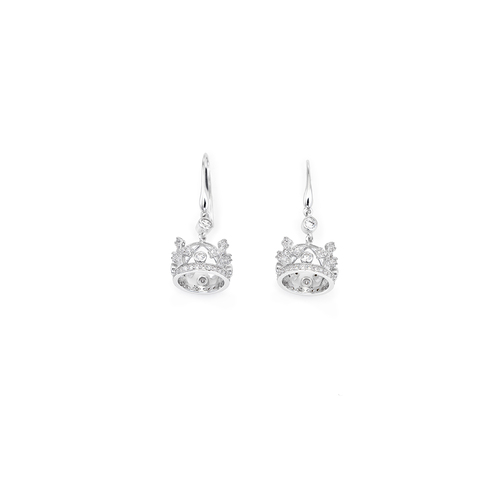 Earrings crown AG925 rhodium with zircon