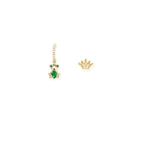 Earrings Frog and Crown Zirconate