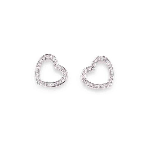 Earrings Heart in AG925 White cubic zirconia
