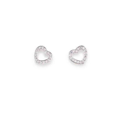 Earrings Heart in AG925 White cubic zirconia
