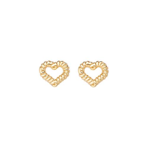 Earrings Heart Knurled Golden