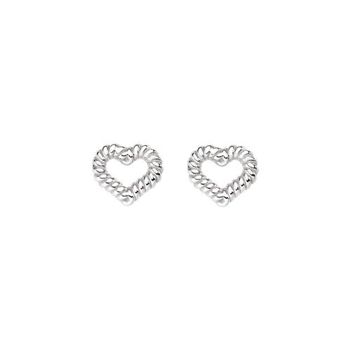 Earrings Heart Knurled Rhodium
