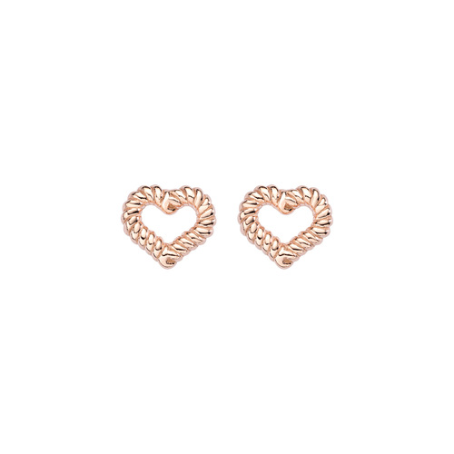 Earrings Heart Knurled Rosè