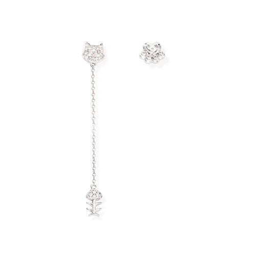 Earrings Kitty and Paw Zirconate