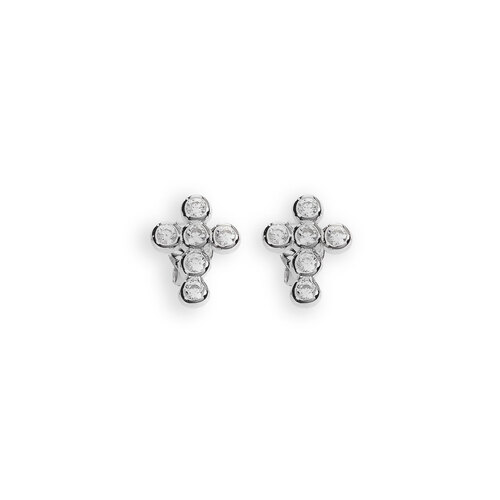 Earrings Lobe Cross Zircons