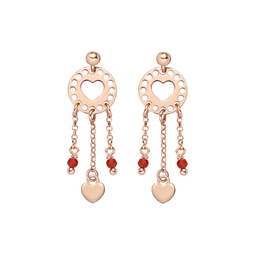 Earrings Love Catcher  Rosè and Crystals Red