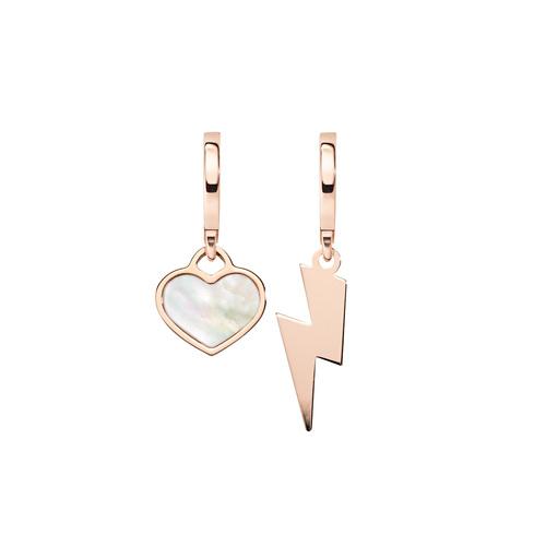Earrings Love Fulmine and Heart Rosè