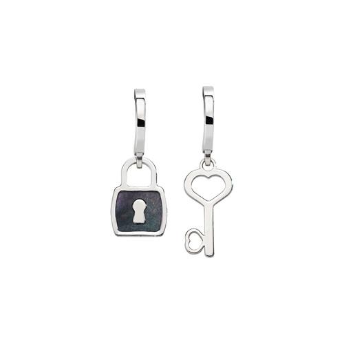 Earrings Love Padlock and Key Rhodium
