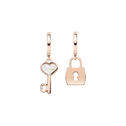 Earrings Love Padlock and Key Rosè