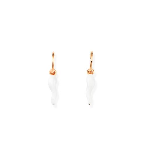 Earrings Lucky Horn White and Circonitasa