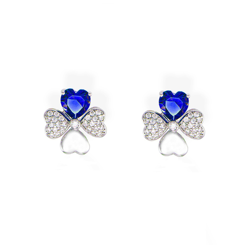 Earrings Quadricuore Rhodium and Zircons White and Blue