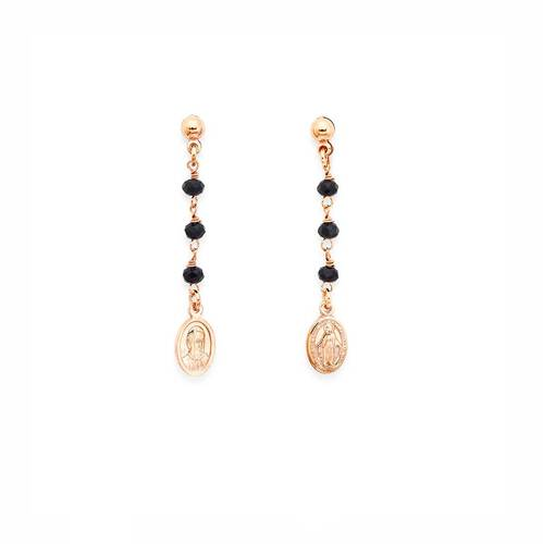 Earrings Rosary with Miracolous AG925 and crystals