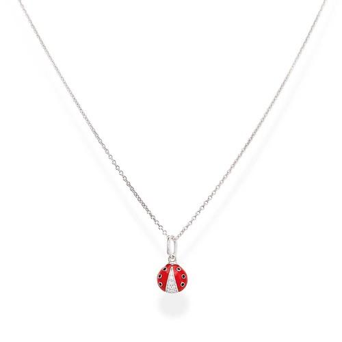 Enameled and Zirconia Ladybug Necklace