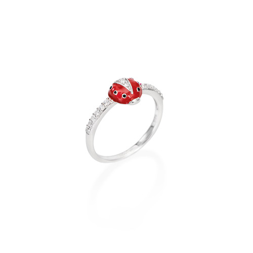 Enameled and Zirconia Ladybug Ring