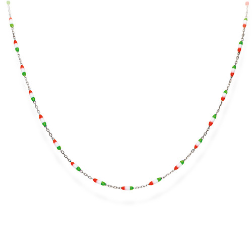 Enameled Italy Flag Necklace