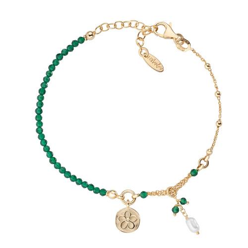 Flower and Pearl Medal Bracelet