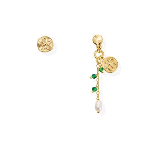Flower and Pearl Medal Earrings