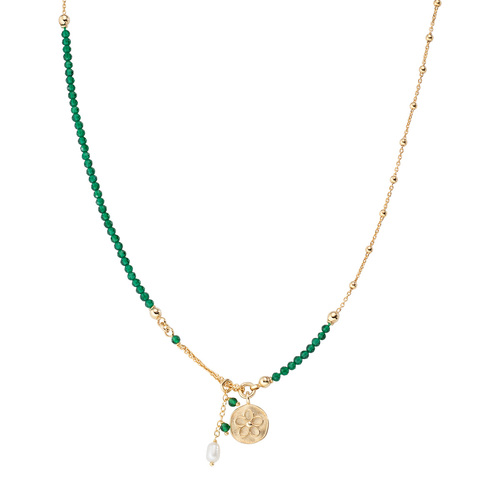 Flower and Pearl Medal Necklace