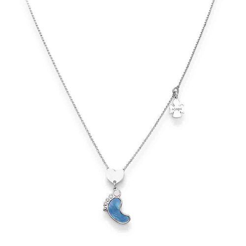 Foot streling silver necklace with mother of pearl blu