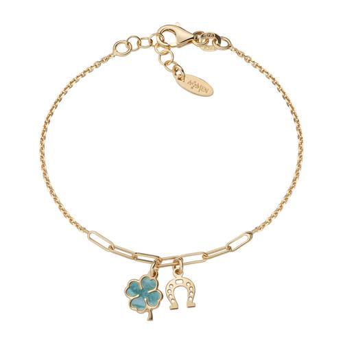 Four-leaf clover and golden horseshoe bracelet