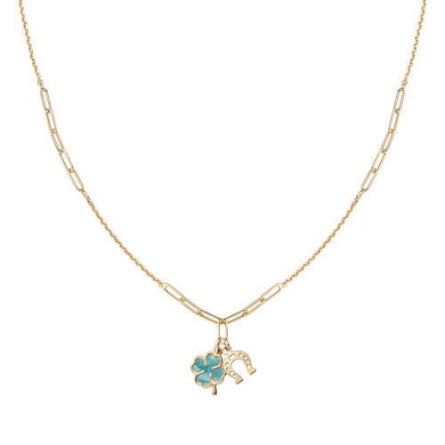 Four-leaf clover and golden horseshoe necklace