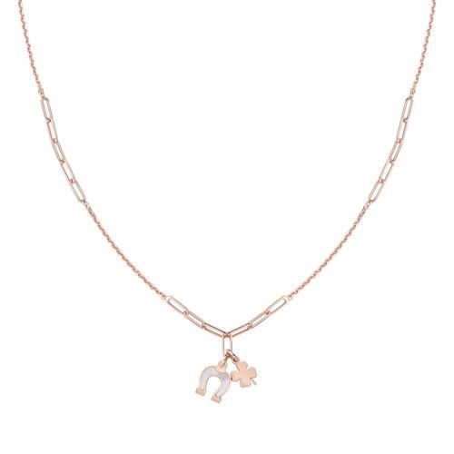 Four-leaf Clover and Horseshoe Rosé Necklace