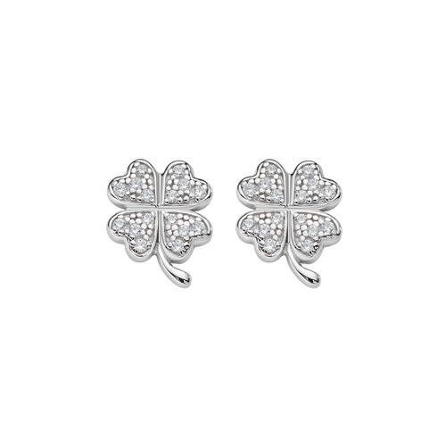 Four Leaf Clover Zircon Earrings