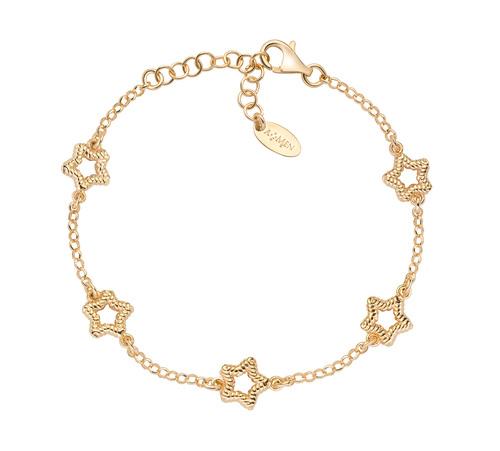 Gold Knurled Multiple Star Bracelet