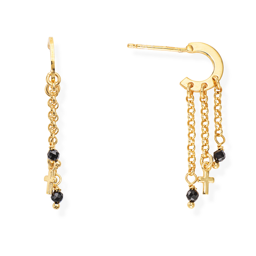Golden and Black Crystals Cross Earrings