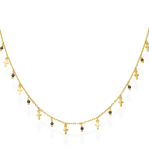 Golden and Black Crystals Cross Necklace