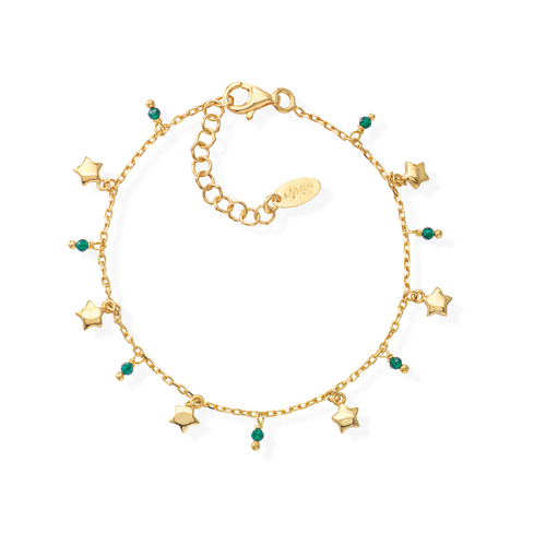 Golden and Green Crystals Stars Bracelet
