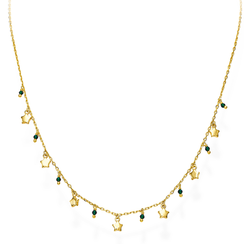 Golden and Green Crystals Stars Necklace