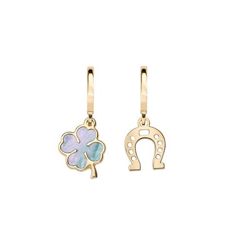 Golden Four-Leaf Clover and Horseshoe Earrings