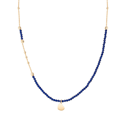 Golden Heart Necklace and Blue Crystals
