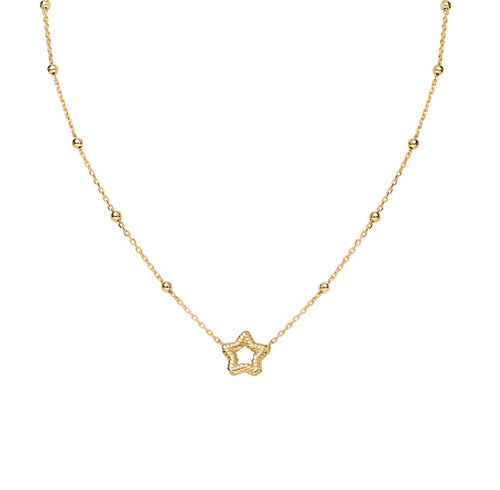 Golden Knurled Star Necklace