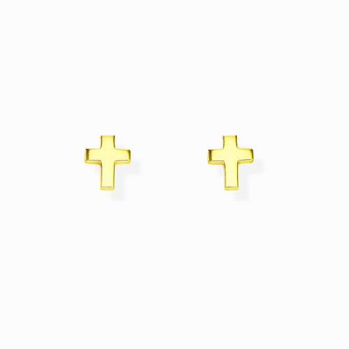 Golden Rounded Cross Earrings