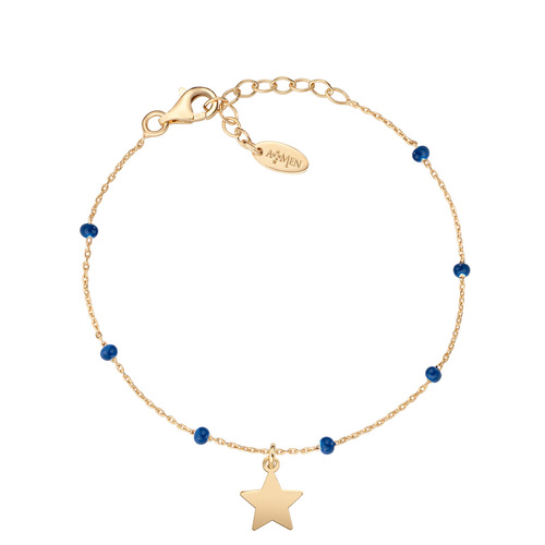 Golden Star and Blue Enamel Bracelet