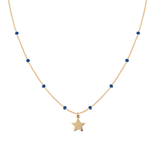 Golden Star and Blue Enamel Necklace