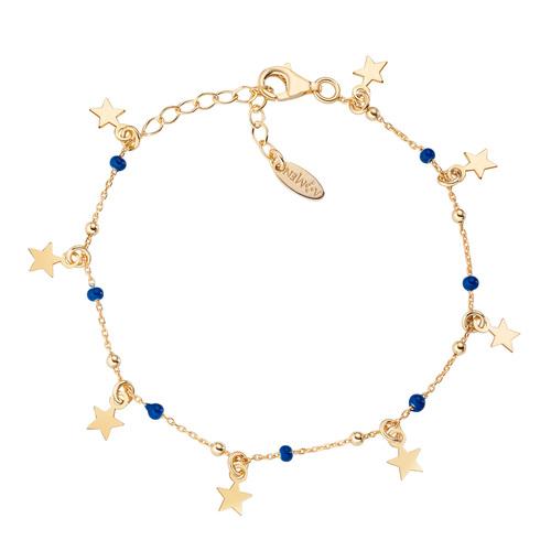 Golden Stars and Blue Enamel Bracelet