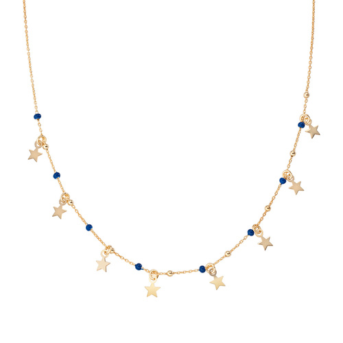 Golden Stars and Blue Enamel Necklace
