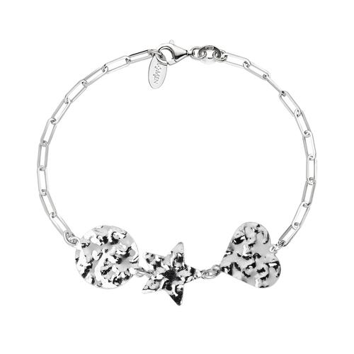 Hammered Heart and Star Medal Bracelet