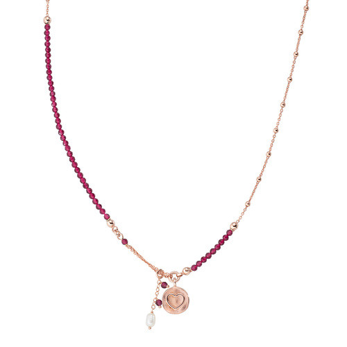 Heart and Pearl Medal Necklace