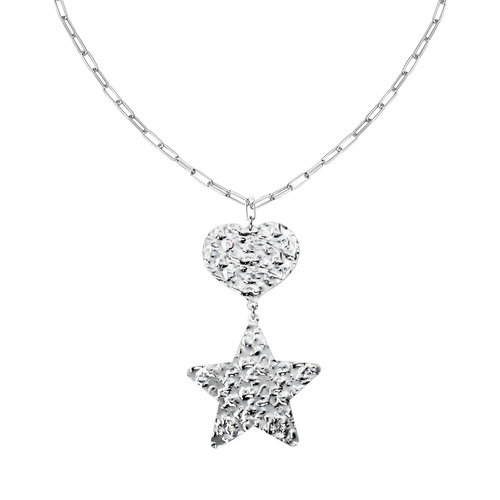 Heart and Star Hammered Necklace