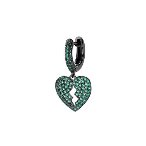 Heart Earring with Green Zircons