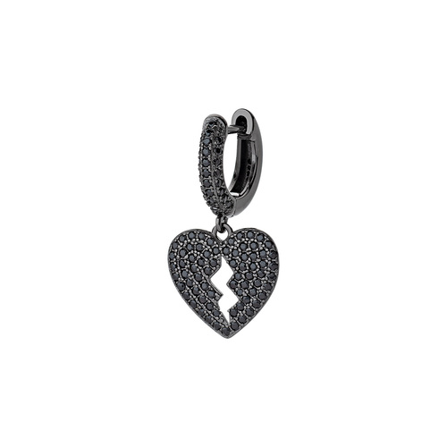 Heart Single Earring with Black Zircons