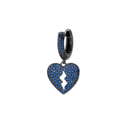 Heart Single Earring with Blue Zircons