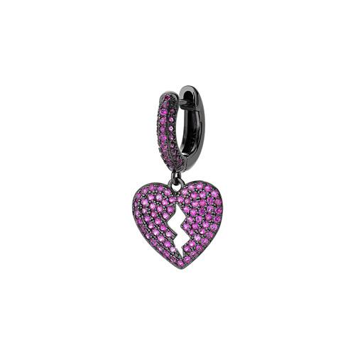 Heart single Earring with Ruby Zircons