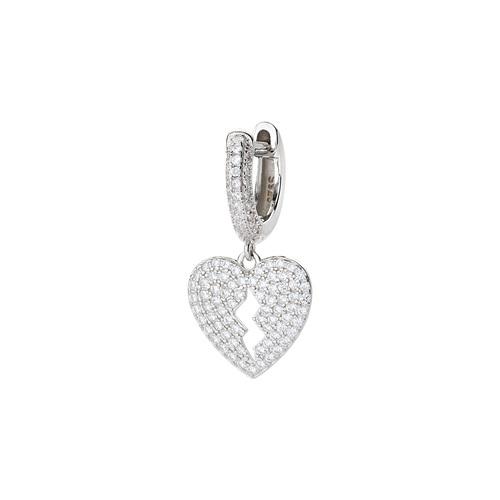 Heart Single Earring with White Zircons