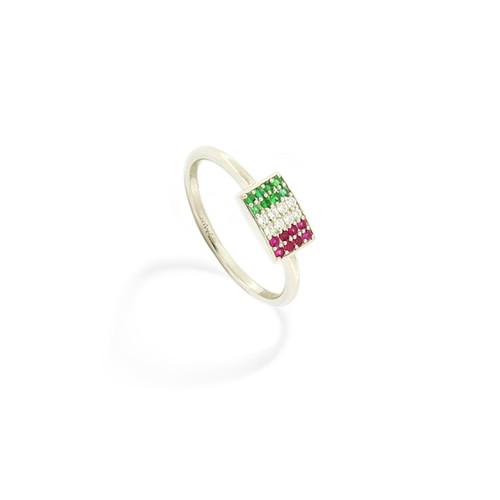 Italian Flag Ring Rhodium